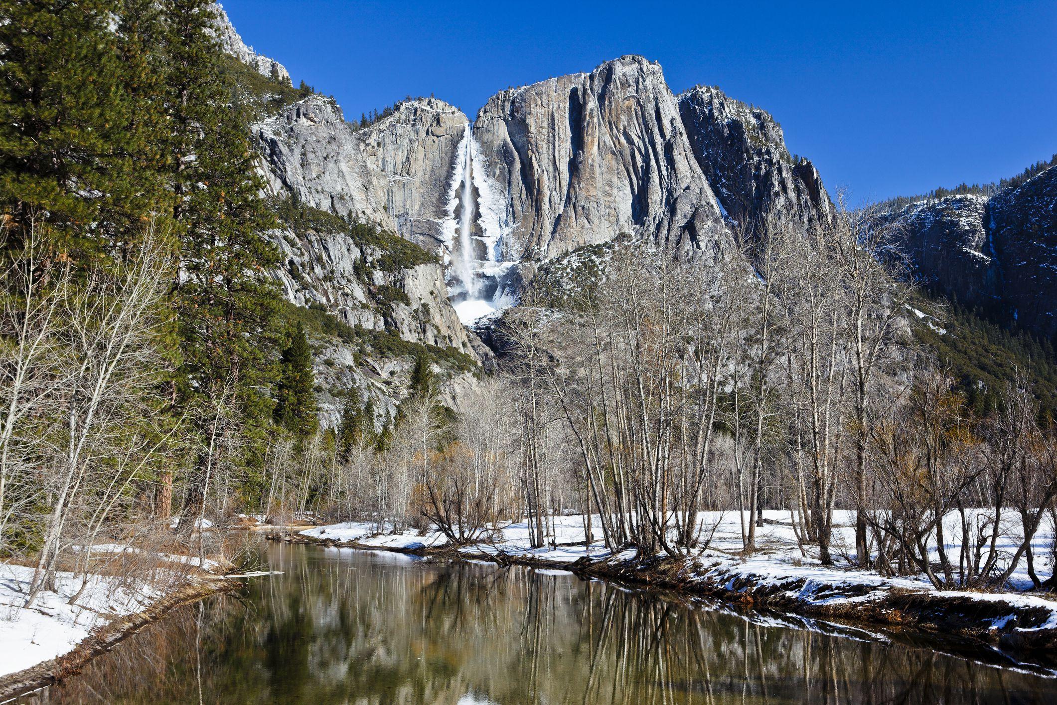 Merced River and Yosemite Falls in Winter, Yosemite National Park, California