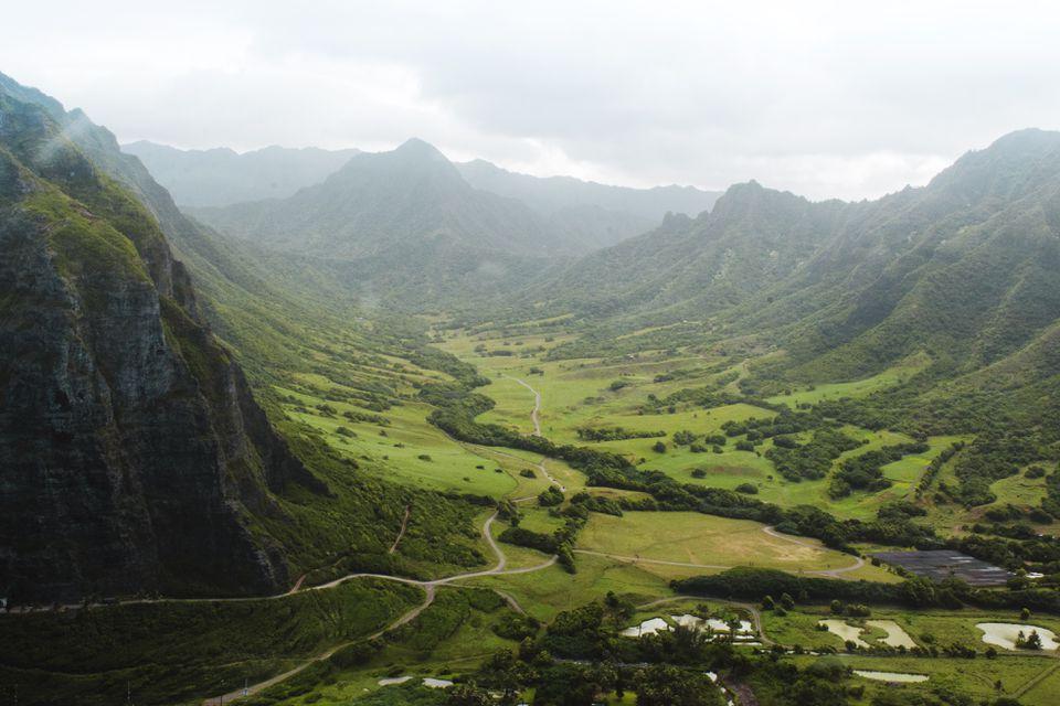 Aerial view of Kualoa Ranch