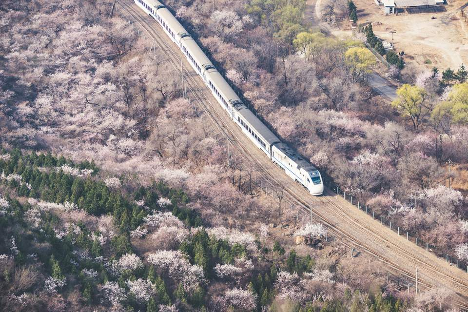 Vista aérea del tren en primavera en Beijing