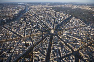Aerial view of Arc de Triomphe in Paris France at sunrise