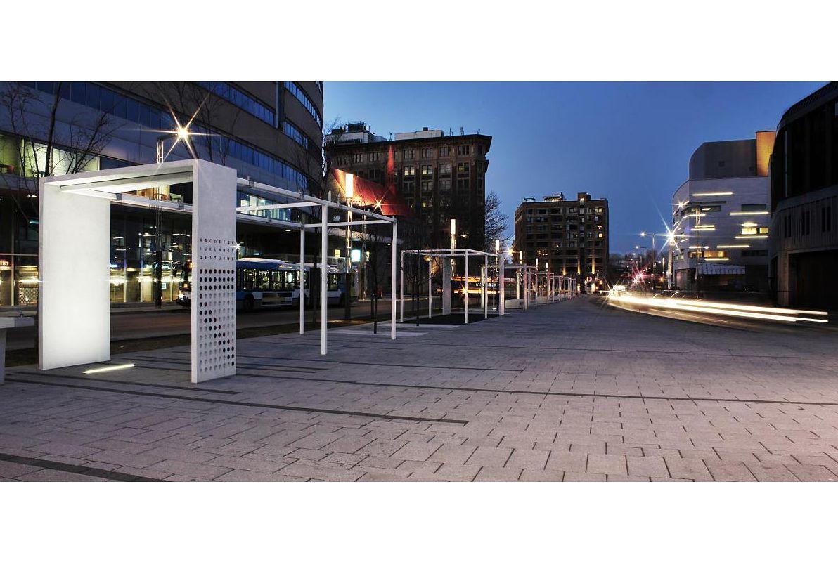Quartier des spectacles' Promenade des artistes in Montreal's entertainment district.