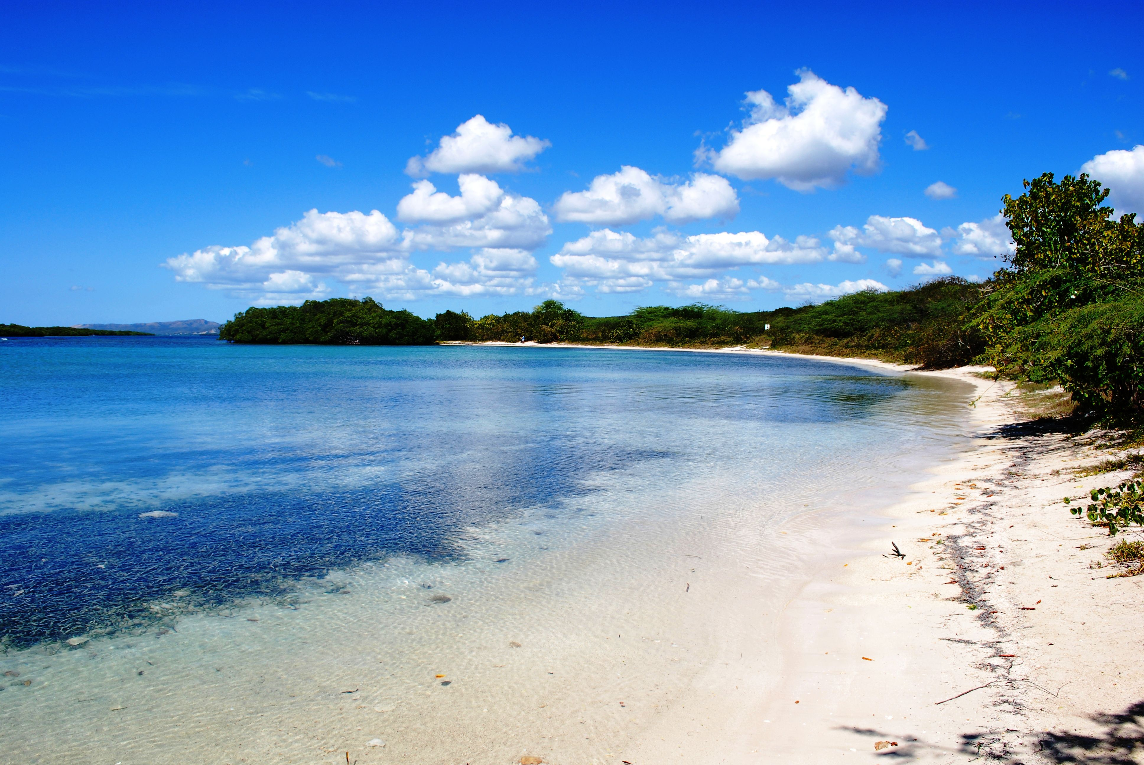 A blue sky reflected in clear waters at a beach in Guanica, PR