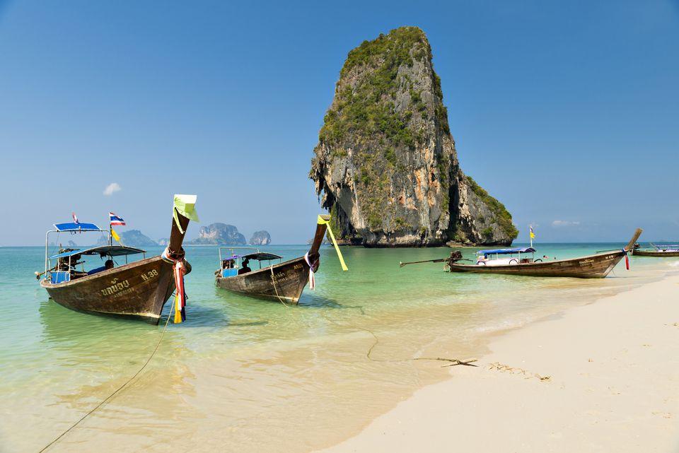Boats at Ao Phra Nang Beach on a sunny day