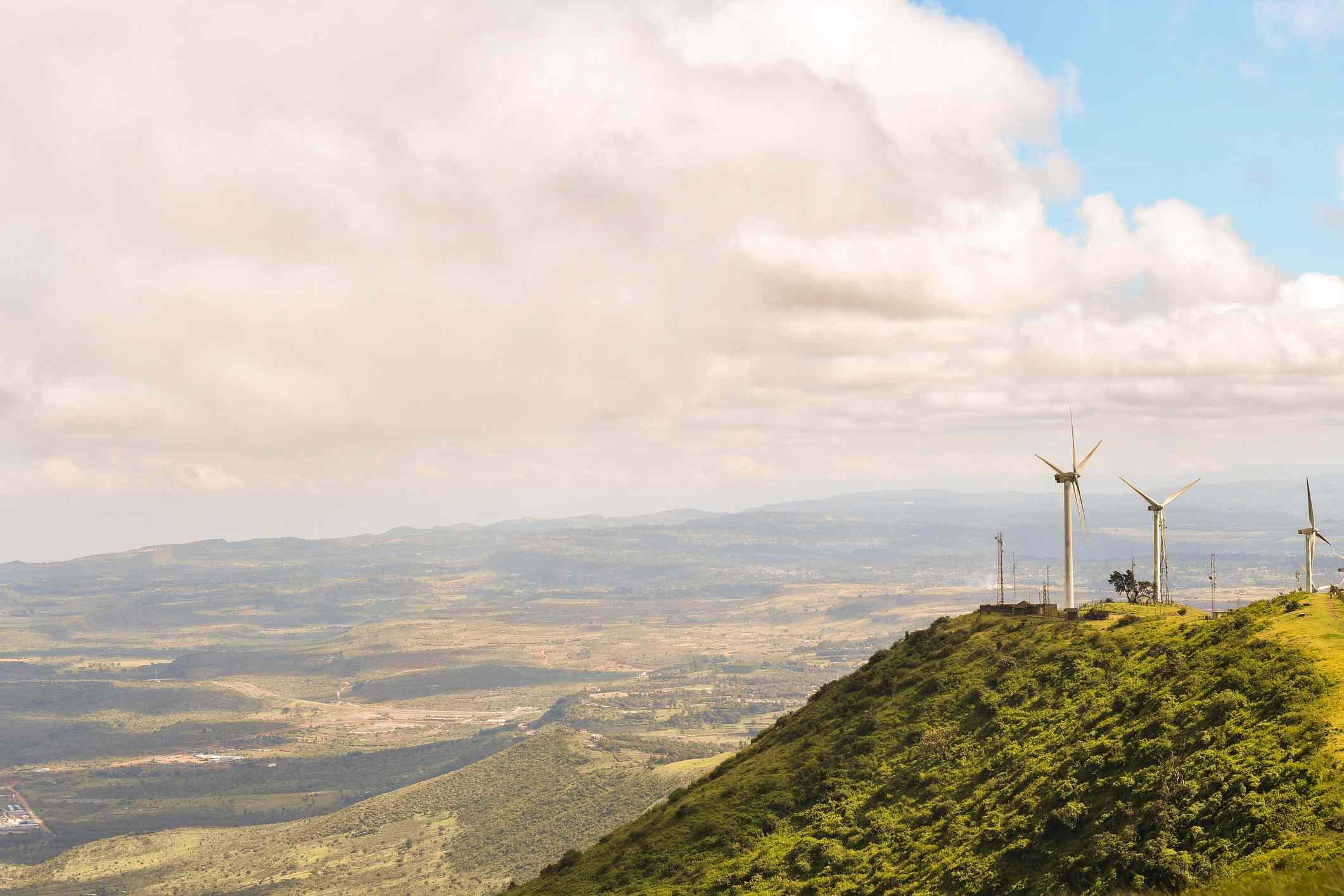 Wind turbines on the Ngong Hills hike, Nairobi