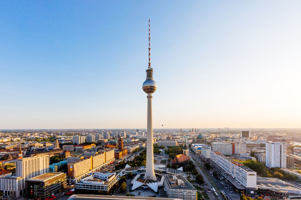 Aerial view of Berlin skyline with Frehnsehturm TV Tower, Berlin, Germany