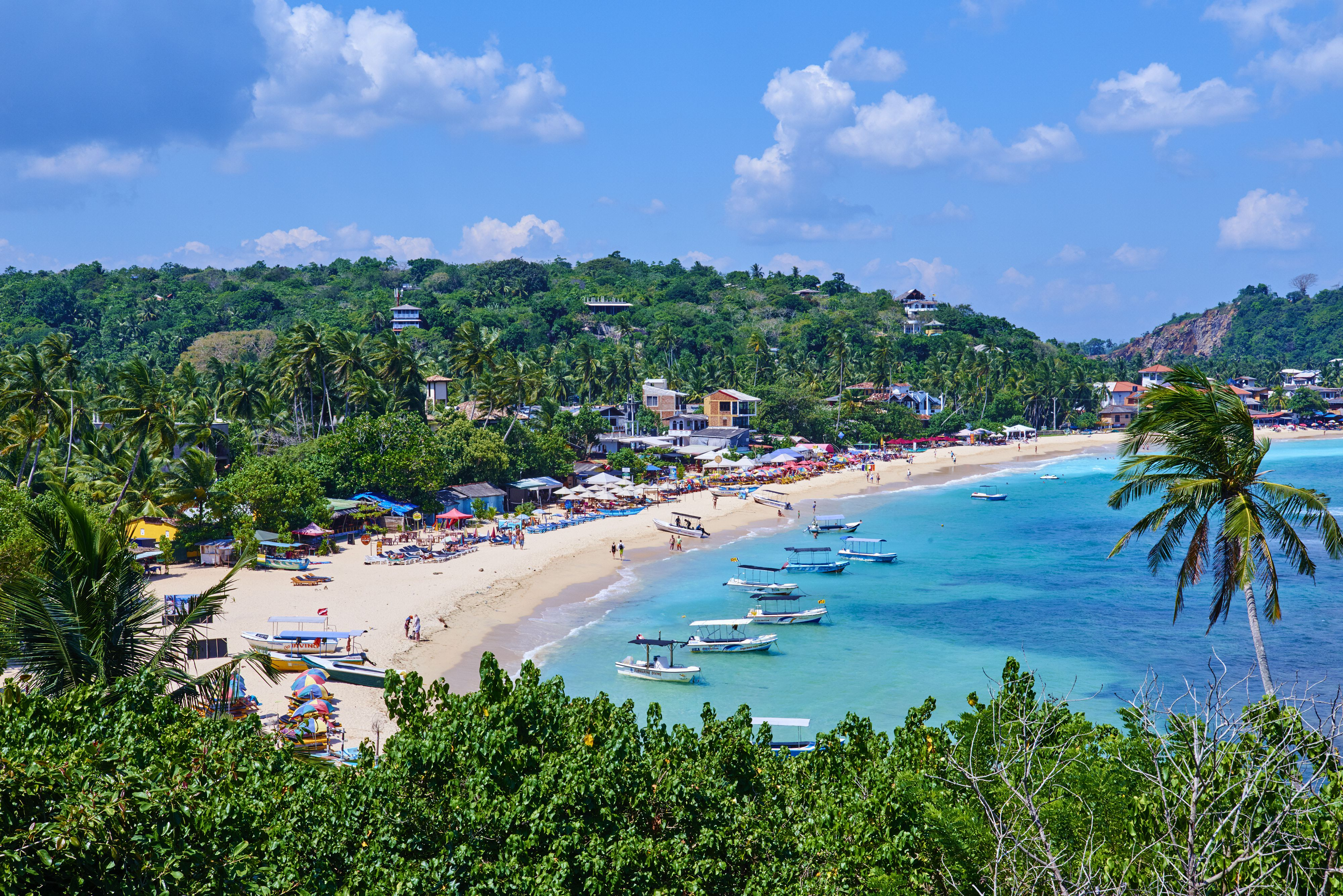 View from above of Unawatuna Beach at Sri Lanka