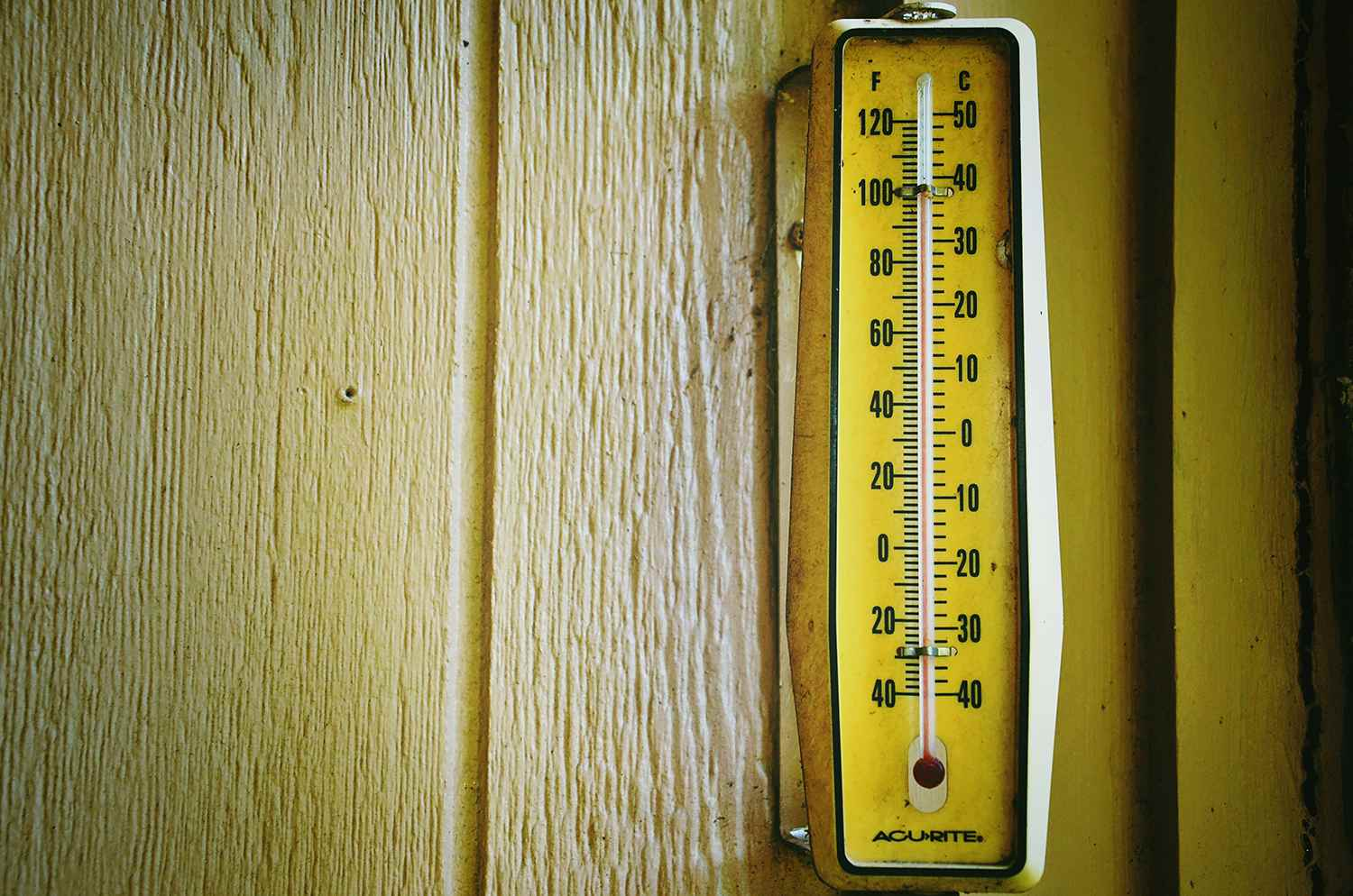 Close-Up Of Thermometer On Wood