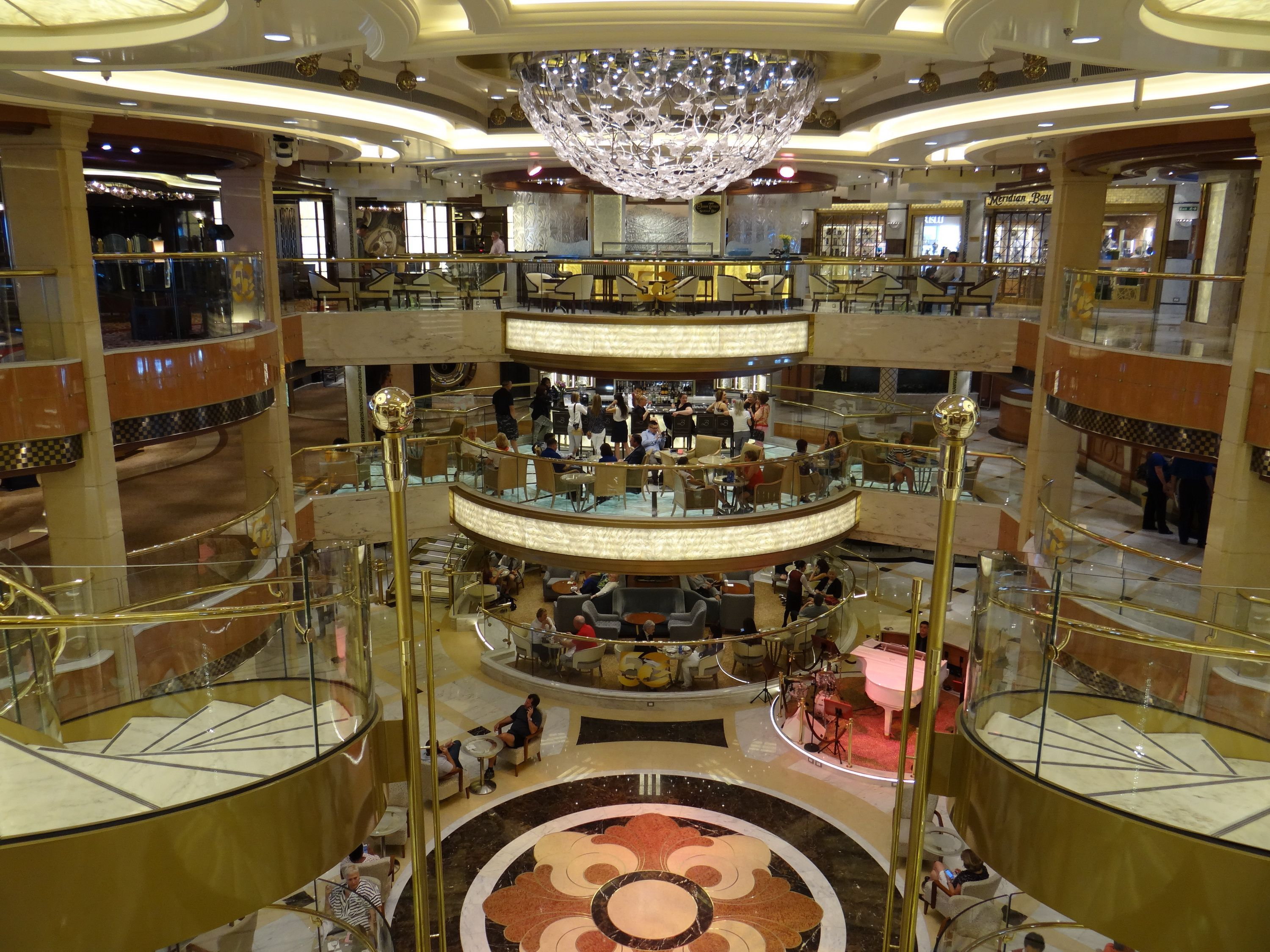 The Regal Princess Piazza and Atrium, as seen from the top deck