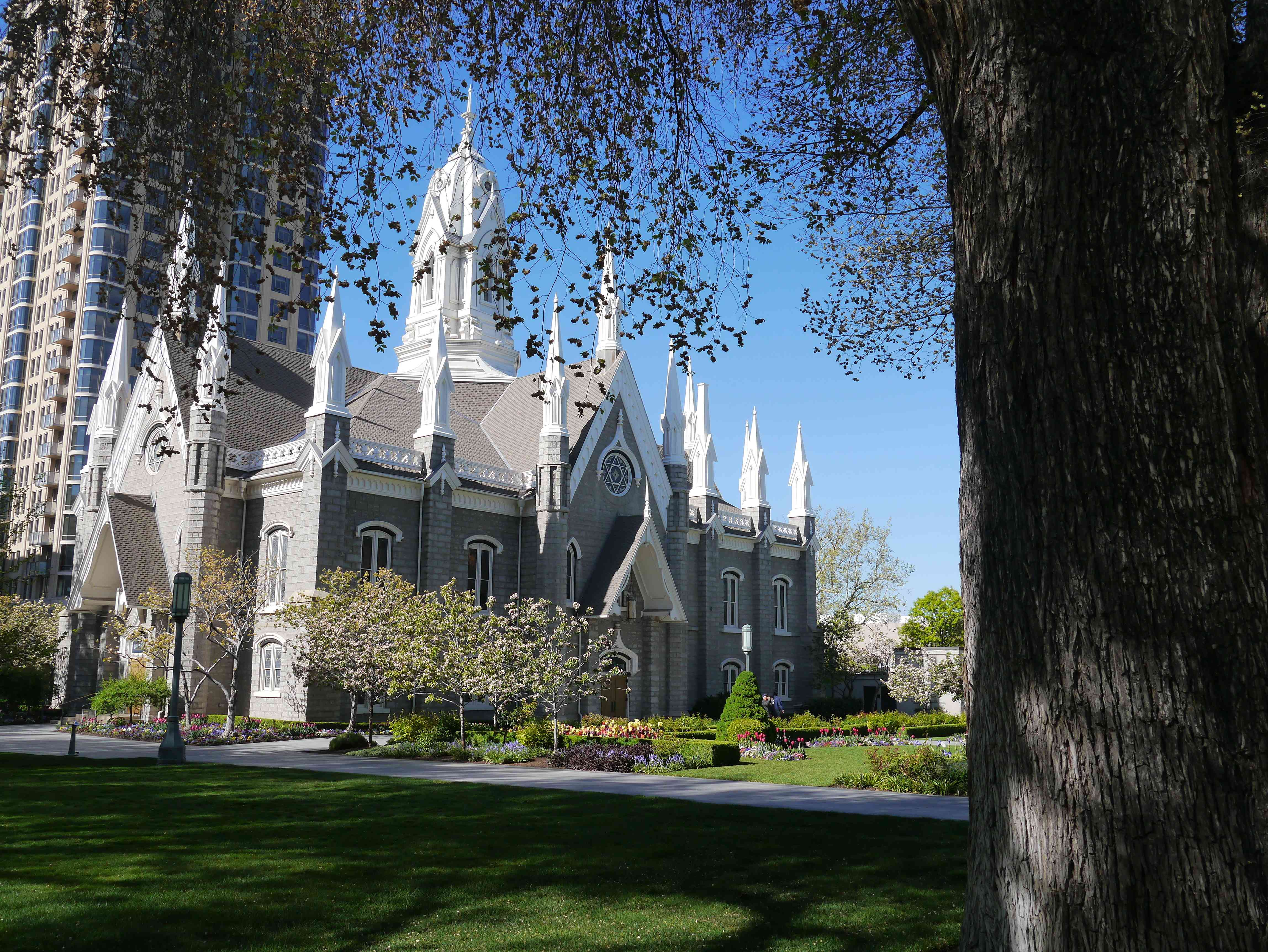 Church By Grassy Field At Temple Square