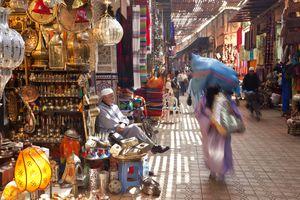 Street scene in one of the Marrakesh medina souks