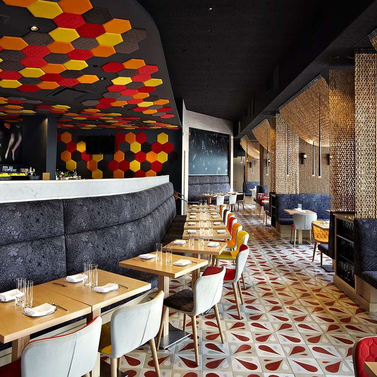 Jaleo restaurant with red, tan, and white floor tiles