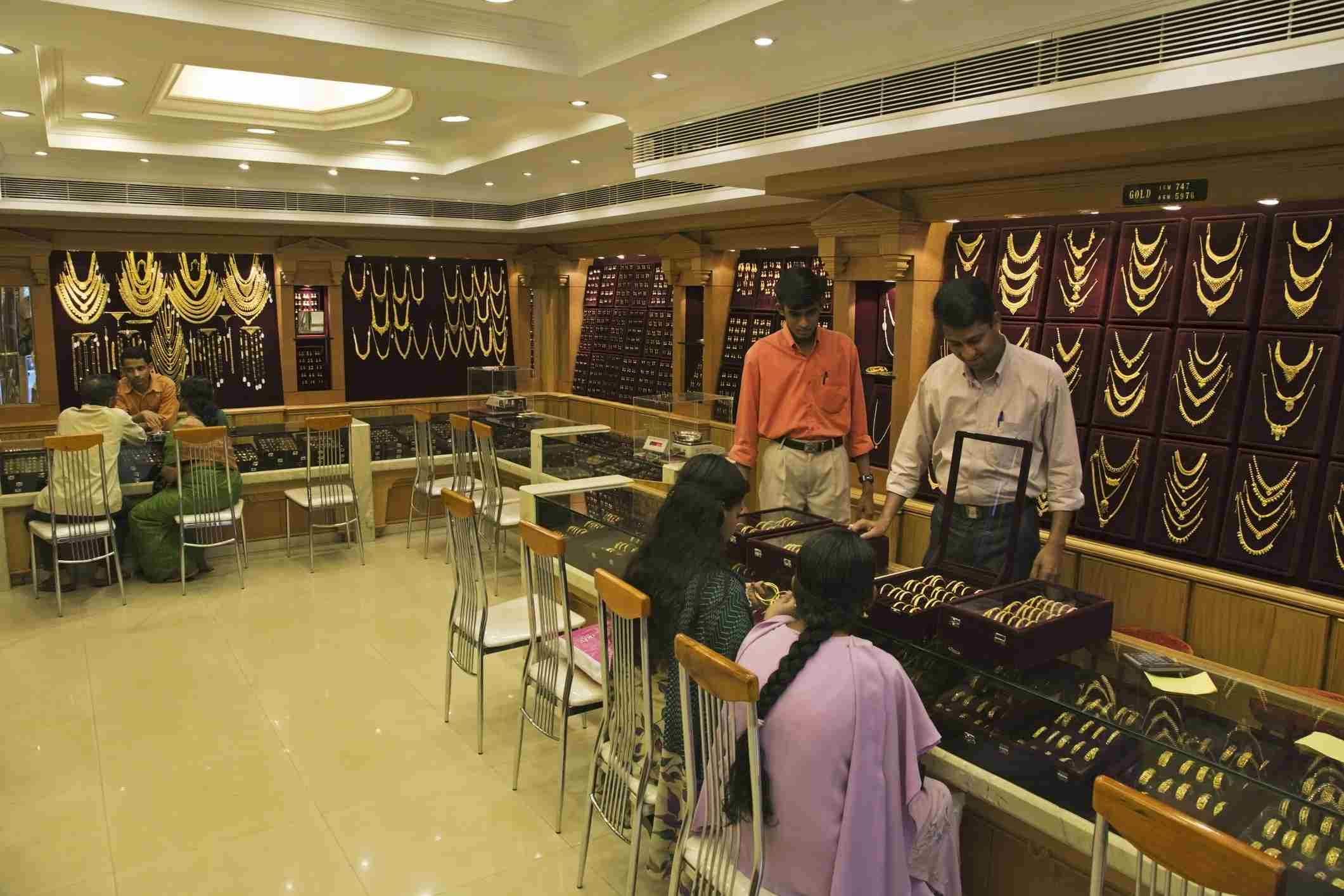 Gold shop in India.