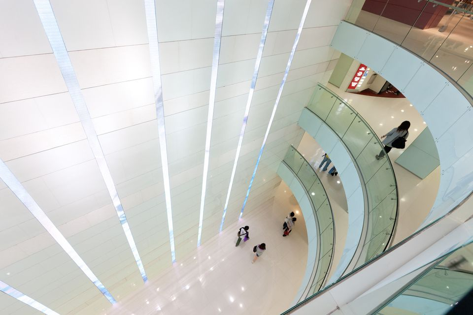 Elevated view of several floors in Hong Kong's Harbour City Mall