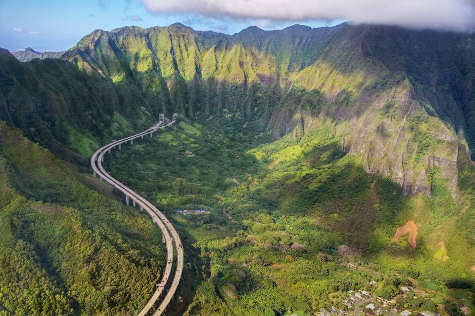 Aerial view of H-3 Interstate highway, Oahu