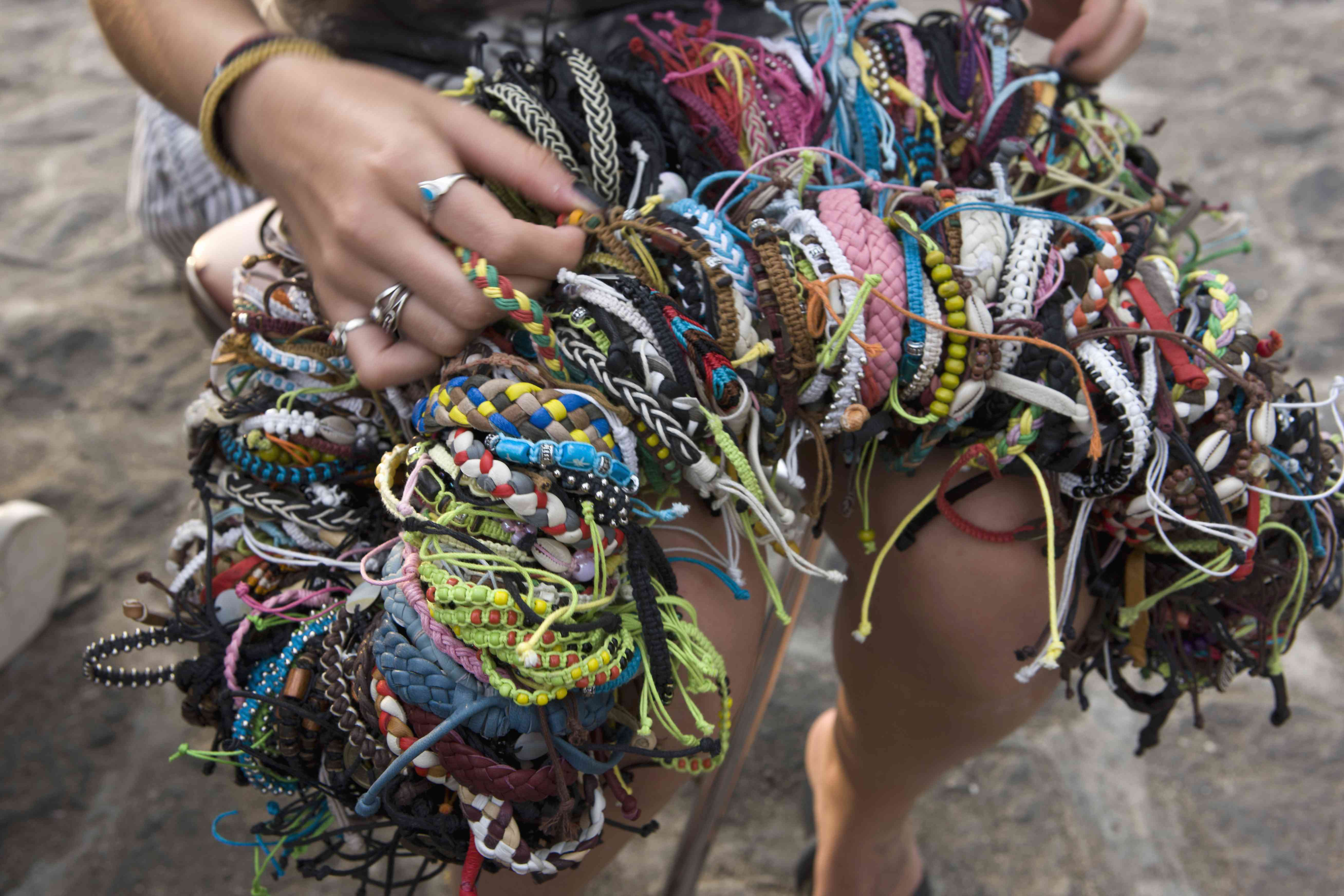 Bracelets for sale on a Bali beach