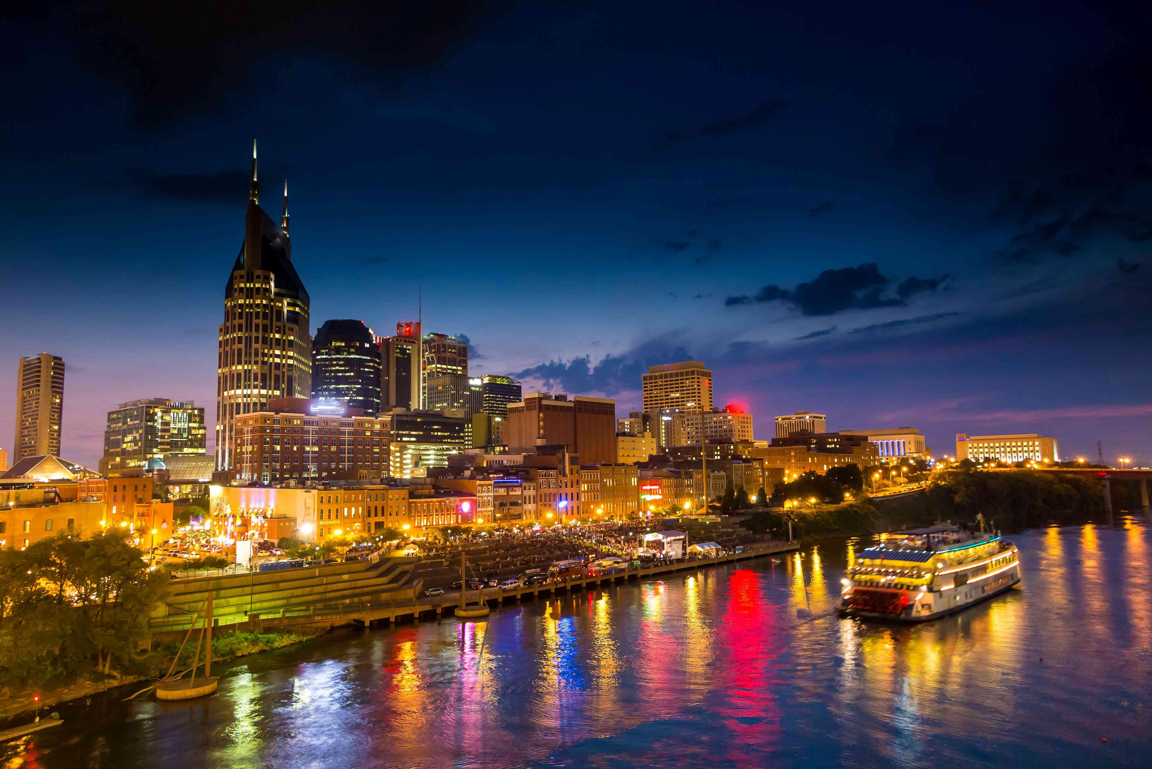Nashville, Tennessee downtown skyline at twilight