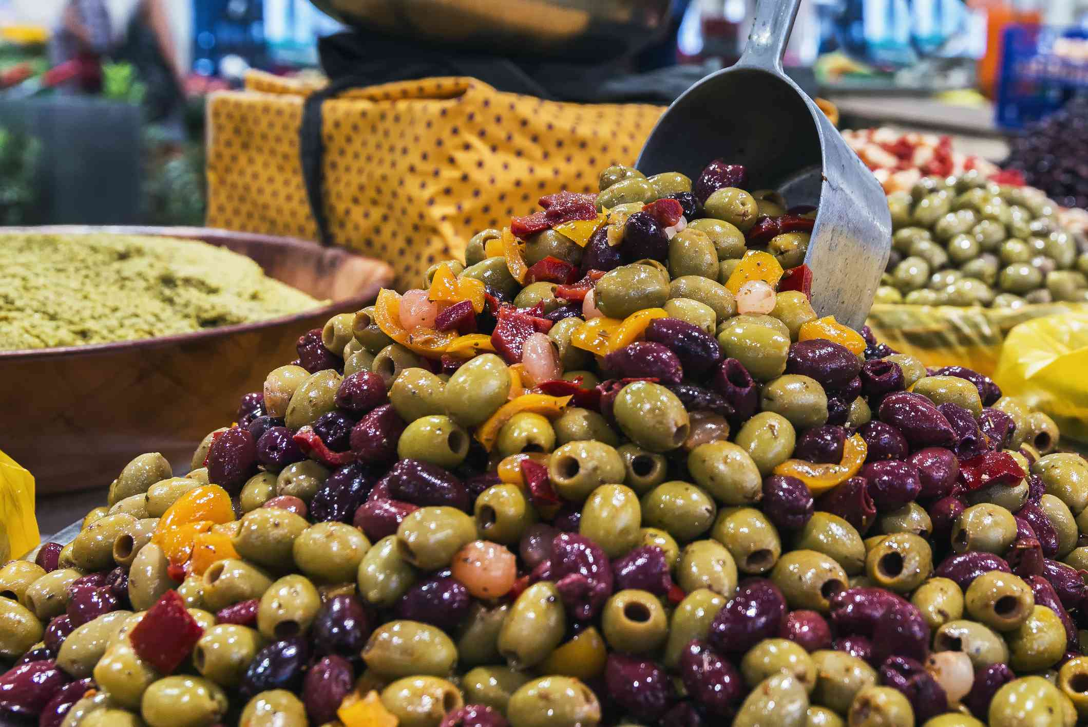 Olives at a market in Cannes, France