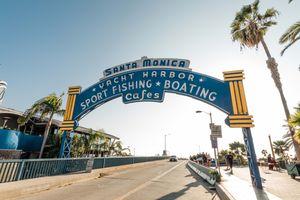 Santa Monica Beach signage, Santa Monica, CA