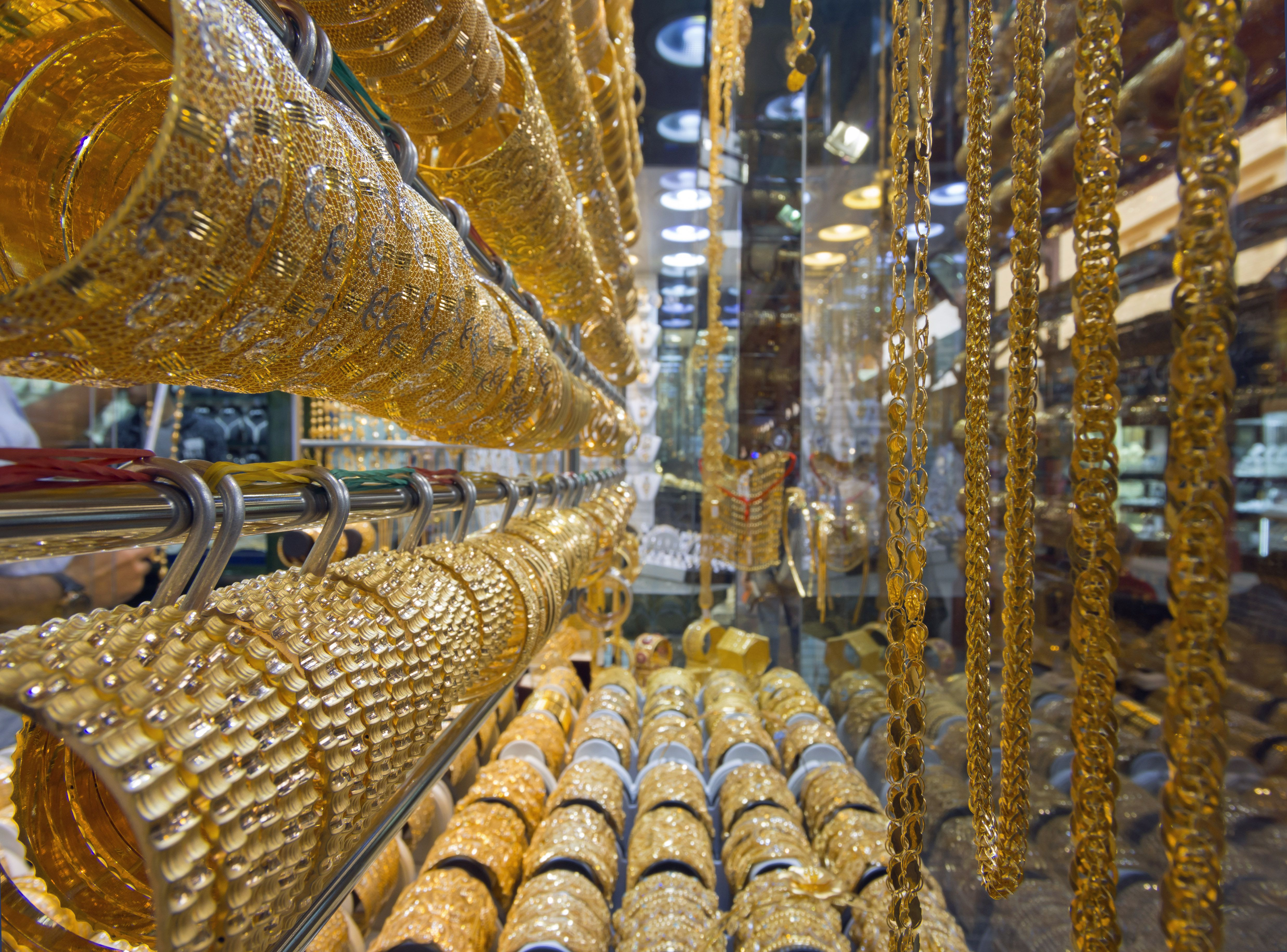 The Gold Souk in Dubai features expensive products.