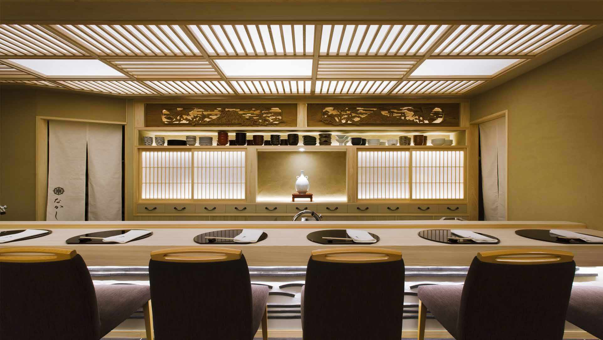 bar seating in a traditional japanese restaurant