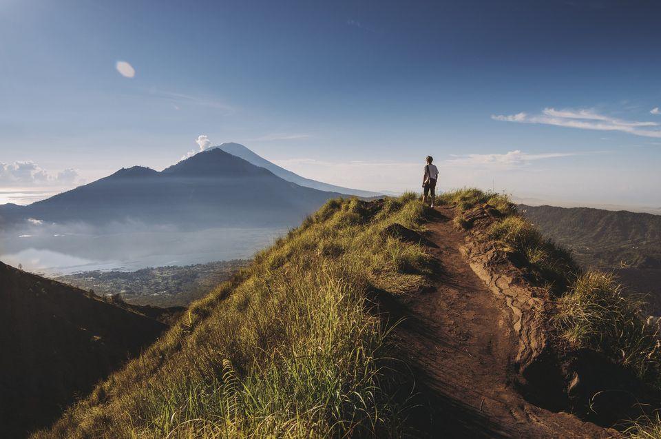 Hiker ascending Gunung Batur, Bali