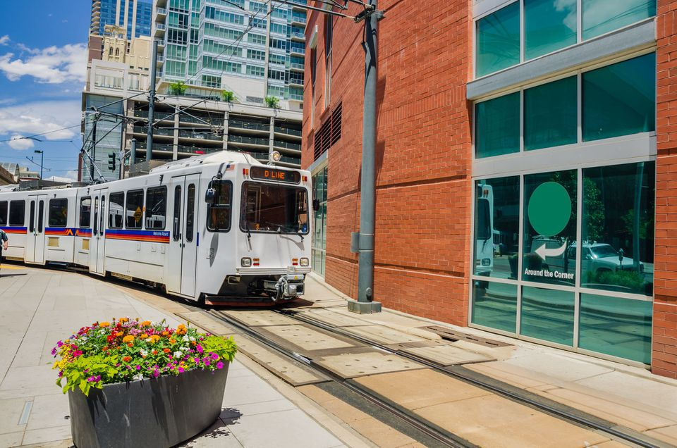 Light Rail Train In Downtown Denver