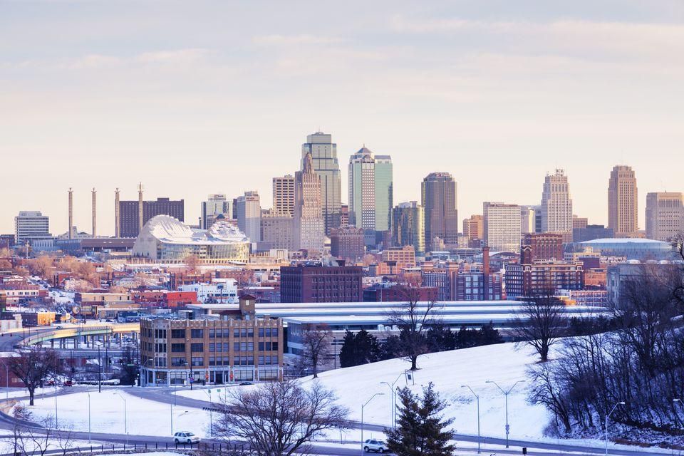 Kansas City skyline covered in snow