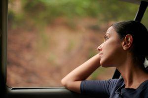 Girl traveling on bus