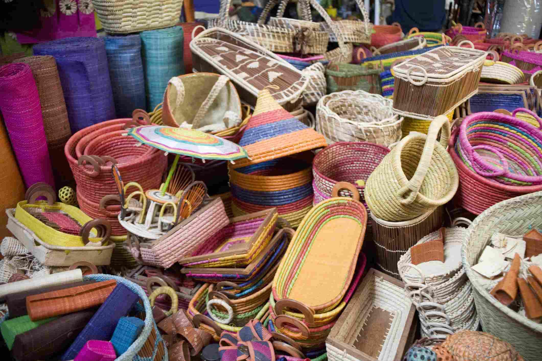 Raffia baskets at a market in Antananarivo
