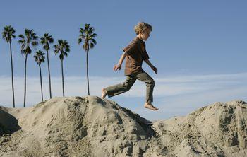 Kid Playing At East Beach Santa Barbara