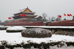 China in winter with snow