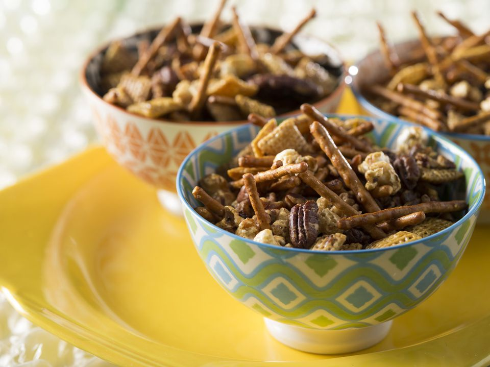 Honey Glazed Sweet and Salty Snack Mix using Made in Oklahoma Coalition food products.