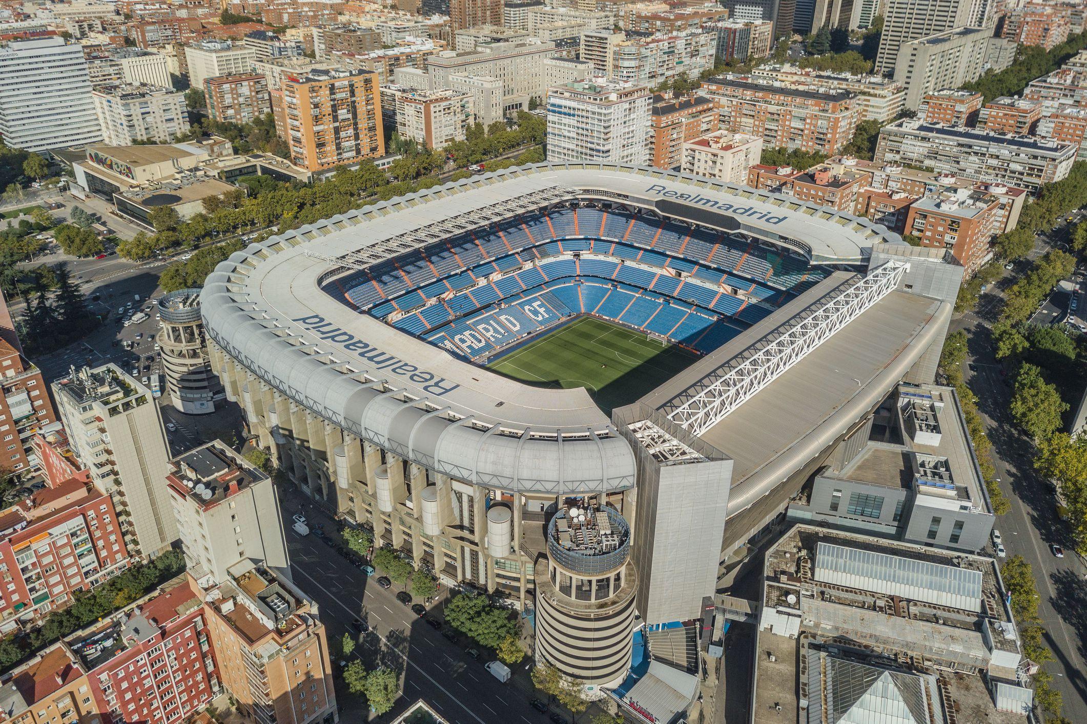 Aerial view of Santiago Bernabeu stadium in Madrid