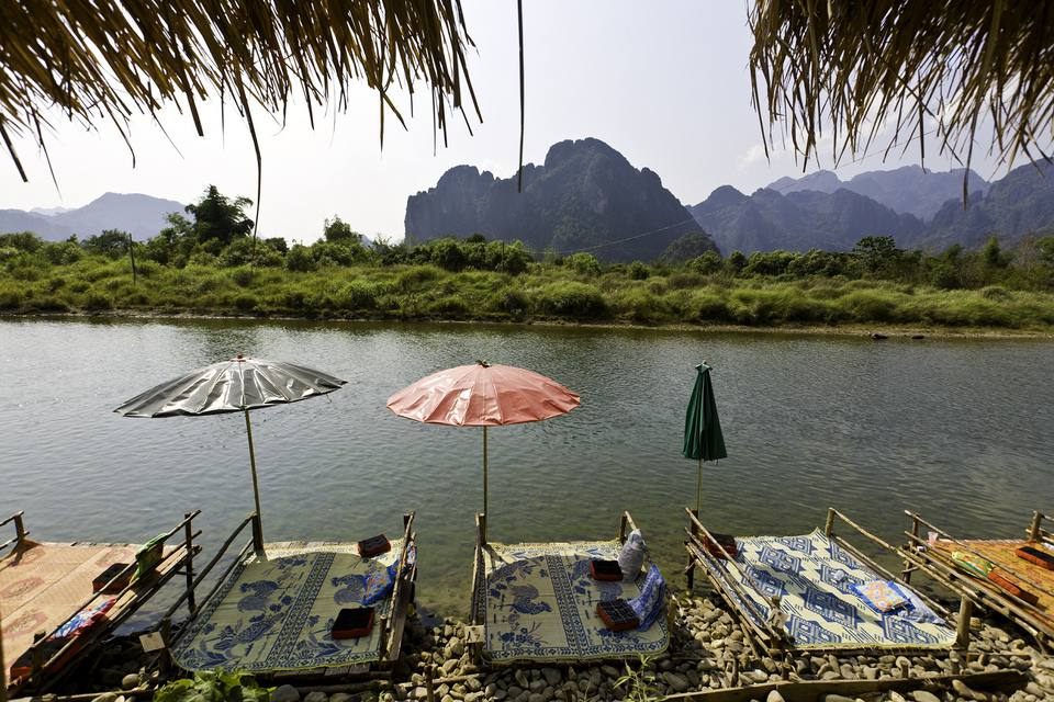 Platforms for tourists' use in Vang Vieng, Laos