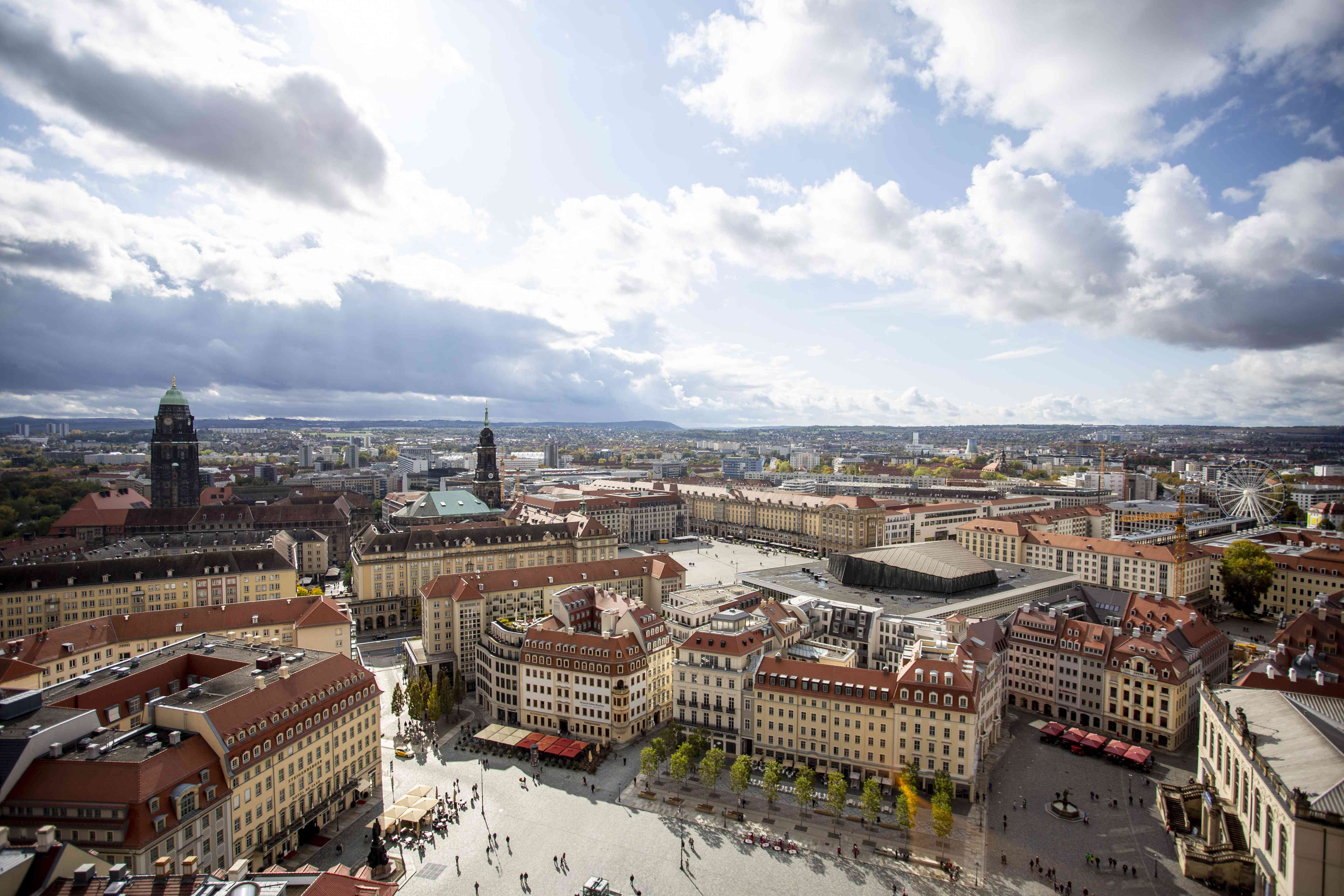 View of the Dresden cityscape from the Tower at Church of Our Lady
