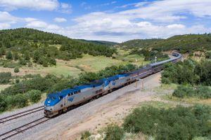 Amtrak train near Keota, N.M.