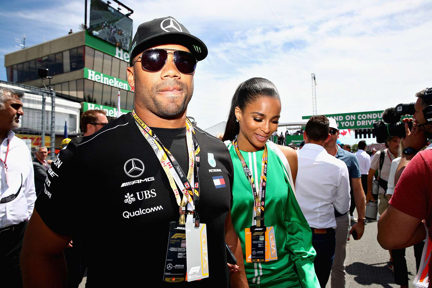 Seattle Seahawks Quarterback Russell Wilson walks on the grid before the Canadian Formula One Grand Prix at Circuit Gilles