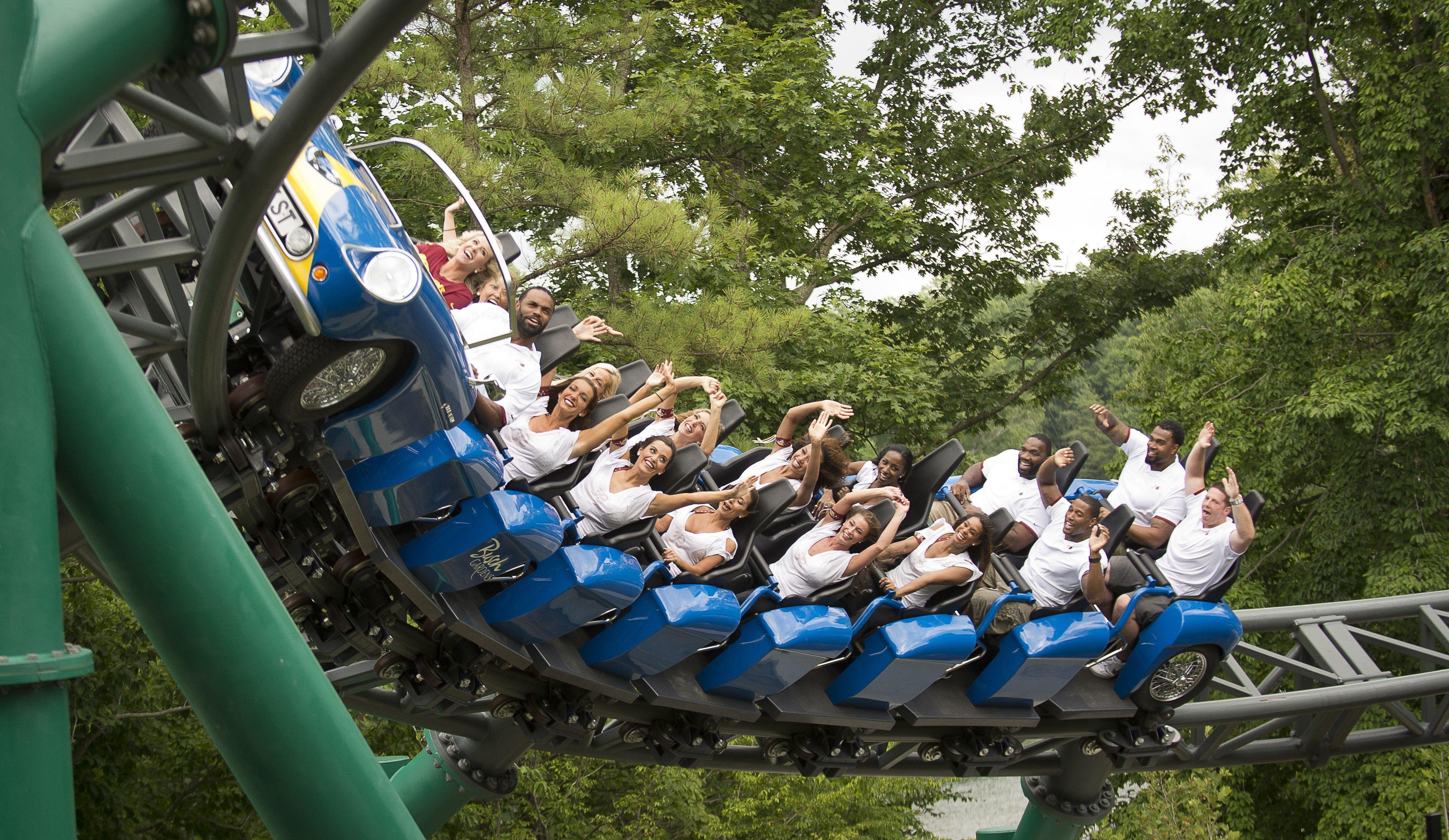 People riding Verbolten roller coaster at Busch Gardens in Williamsburg, Virginia