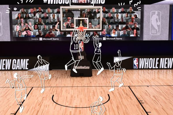 Illustrated players running down an NBA court