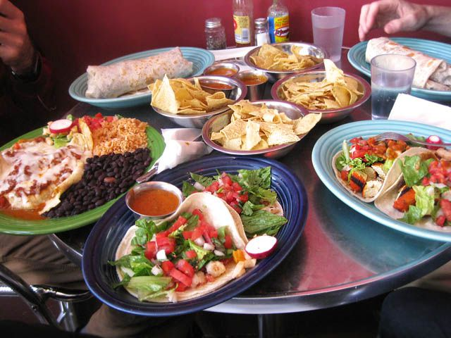 A Papalote Feast, with burritos, tacos, and more.