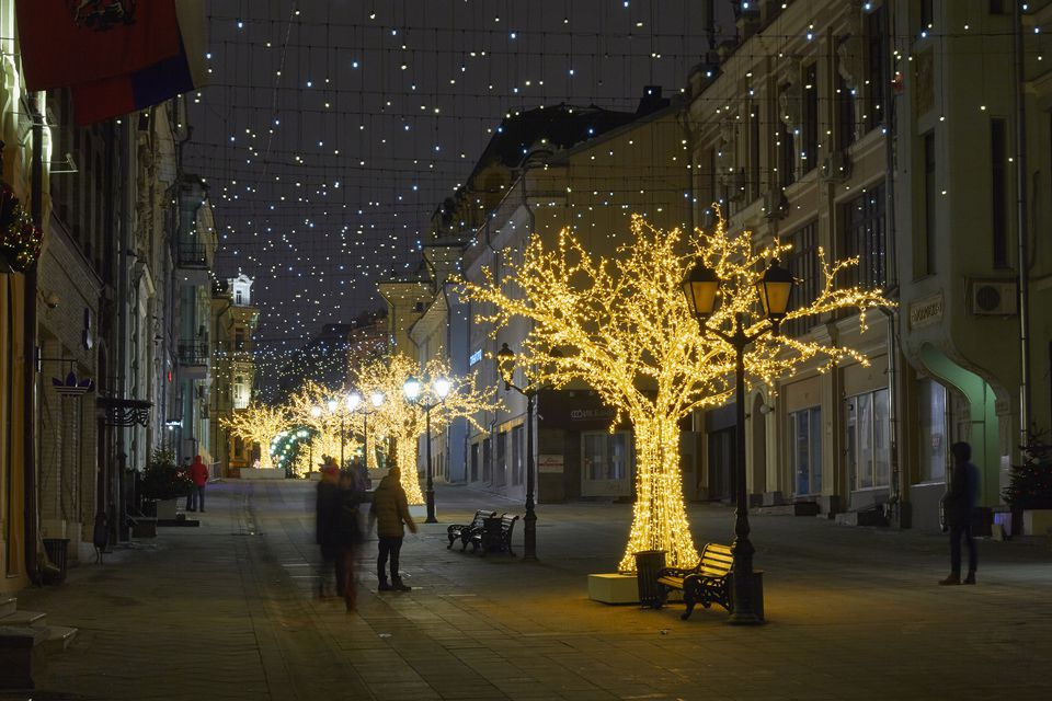 Beautifully decorated and illuminated pedestrian street in the center of Moscow