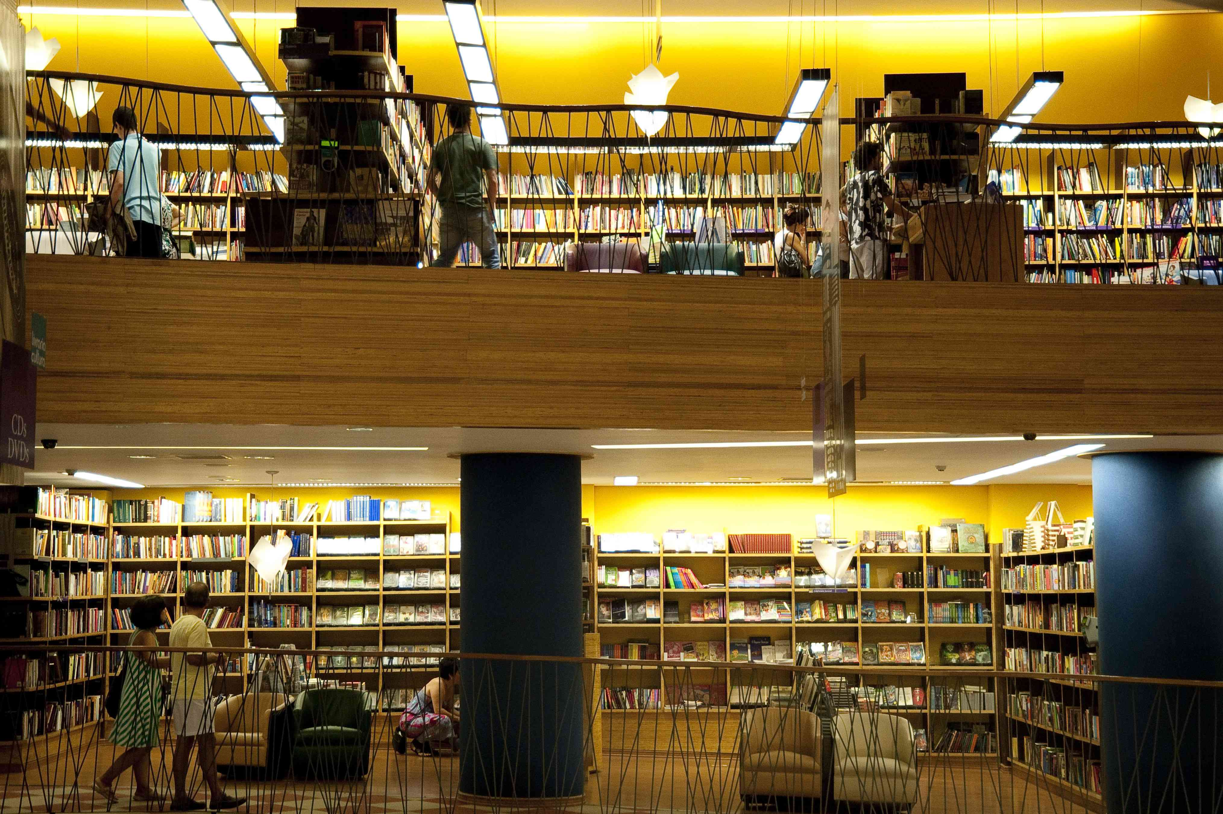 interior view of a two-level bookstore