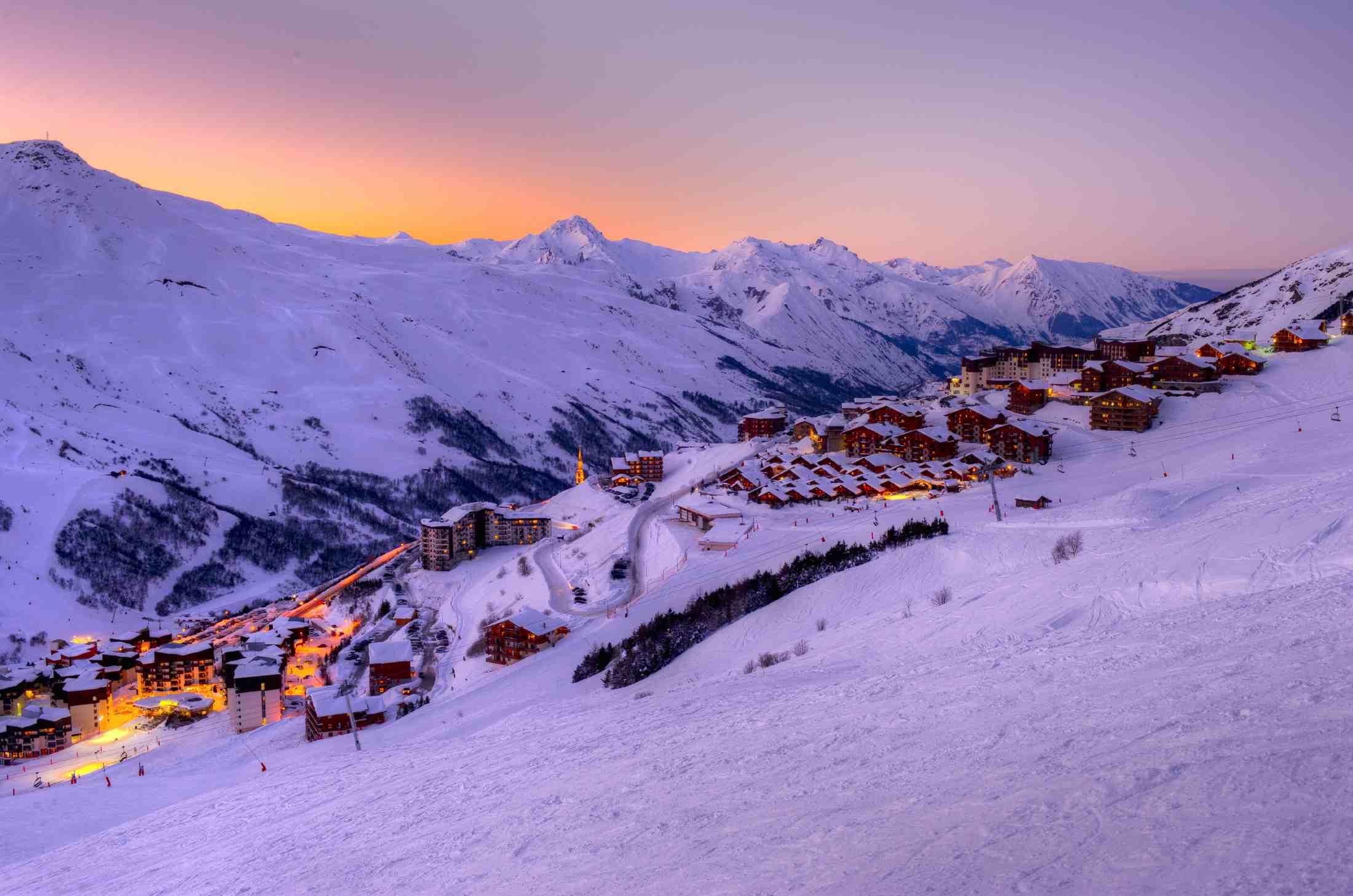 Les Menuires Ski Resort in Les 3 Vallees at Sunset