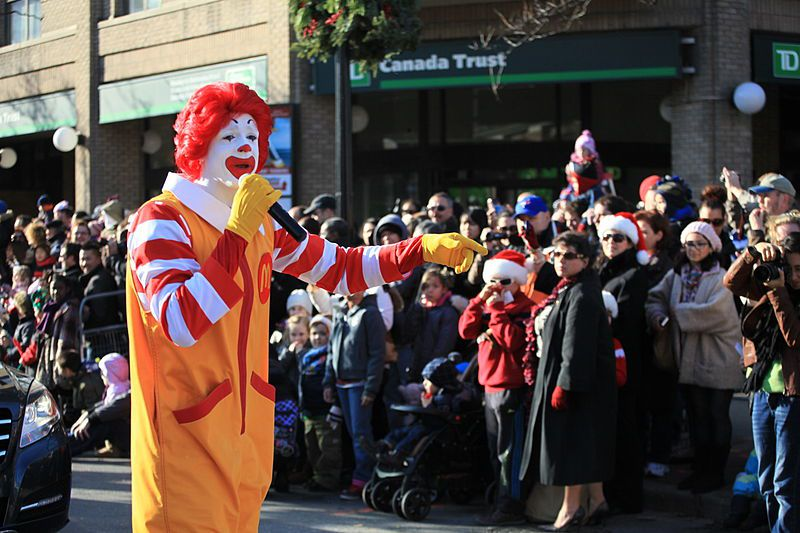 Rondald Mcdonald in the Toronto Santa Claus Parade