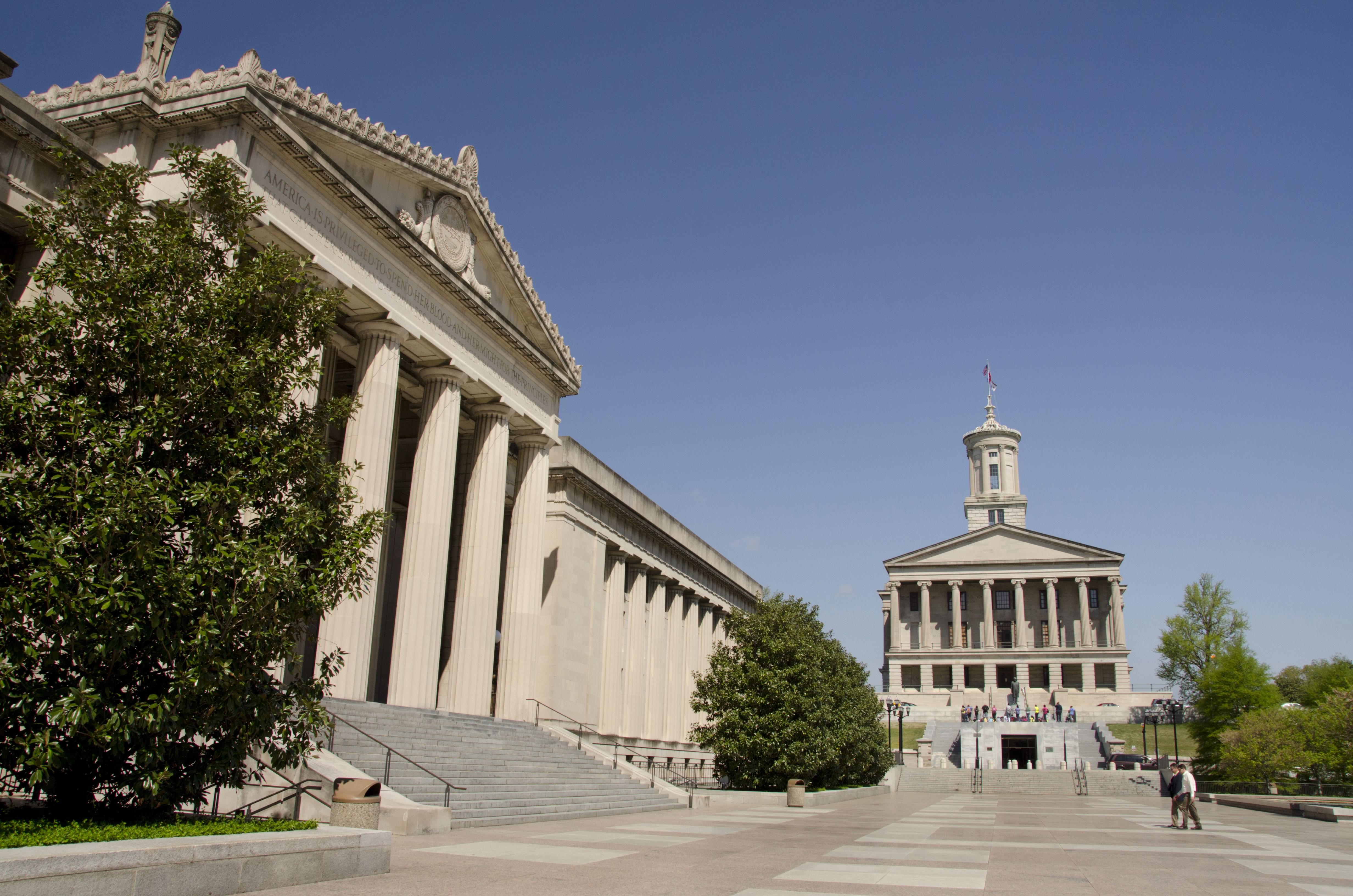 Legislative Plaza, Military history Branch of Tennessee State Museum, War Memorial building, Historic Tennessee State Capitol building, Nashville