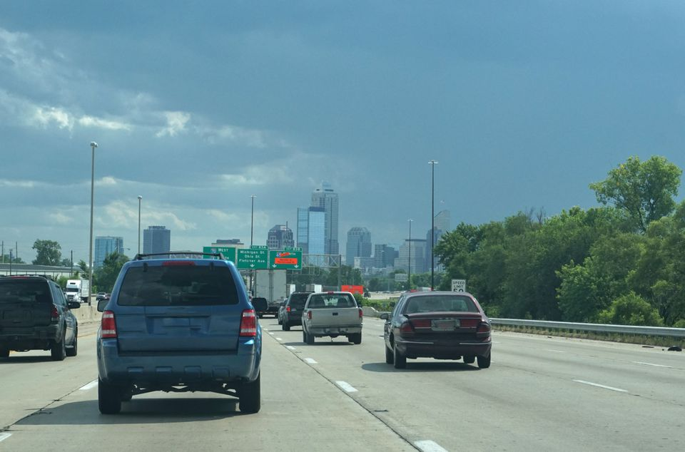 Indianapolis city skyline from the highway