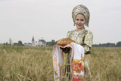Russian Girl with Bread