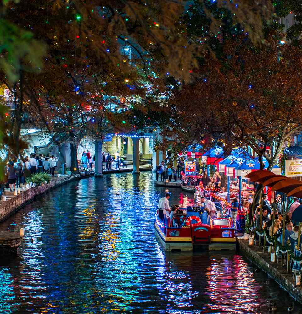 San Antonio Riverwalk at Night During Christmas