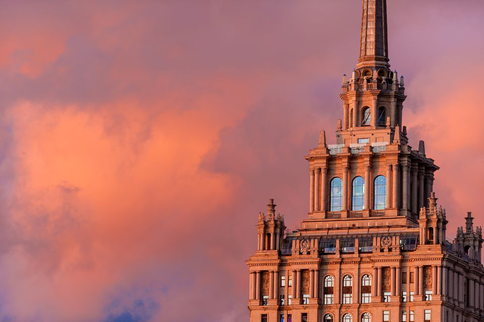 Pink sky at sunset on the soviet architecture in Moscow