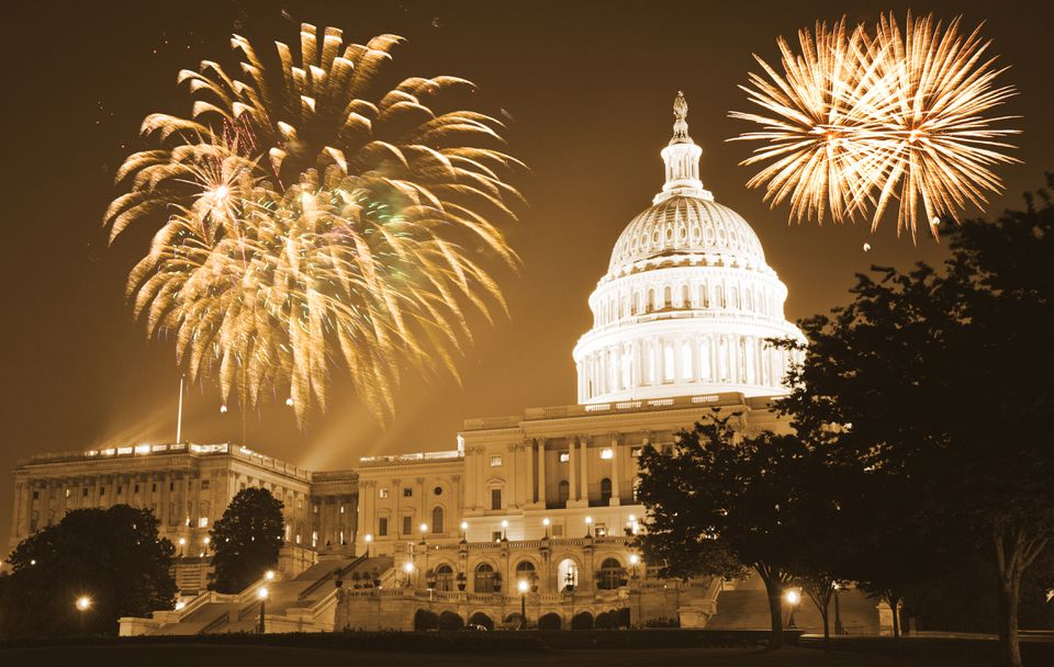 Capitol HIll with fire works during New Years Eve celebration